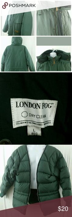 London Fog Mens Parka Coat London Fog Mens Parka Coat   Winter Green   Convertible Down Filled Zipper Lining  Very good condition coat with down lining all the way to sleeves. Converts to a light coat with detachable hood and lining. London Fog Jackets & Coats