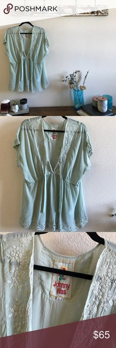Johnny Was Boho Eyelet Blouse In like new condition, muted mint in color, firm on price unless bundled. Johnny Was Tops Blouses