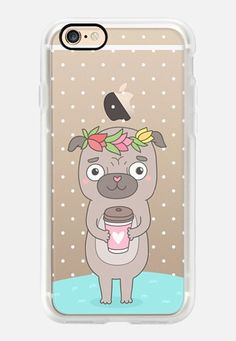 Casetify iPhone 7 Case and Other iPhone Covers - Cute pug in tulip wreath with coffee cup by Anna Alekseeva #kostolom3000 | #Casetify