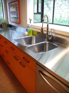 Kitchen Island Stainless Steel Countertop | ... and clean look the sink should match or be included in the countertop