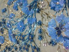 0.55yard*1.31yard/ FLORAL EMBROIDERY BEADS FABRIC/mesh lace/Sequin/blue
