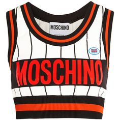 Moschino Cropped printed stretch-jersey top ($425) ❤ liked on Polyvore featuring tops, crop tops, moschino, bralet, white, white bralet top, white tops, white crop top, striped top and stripe top