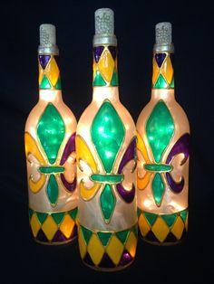 Harlequin trimmed Mardi Gras Fleur De Lis  Wine by BottleOfLights, $30.00