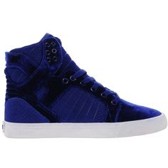 Supra Skytop Blue Velvet High Top Sneakers (7,340 INR) ❤ liked on Polyvore featuring shoes, sneakers, zapatos, supra, velvet high top sneakers, almond toe shoes, blue trainers, supra shoes and blue velvet shoes
