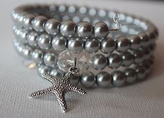 Gorgeous Silver Pearl Beaded Bracelet with by CarriesCreativeChaos