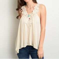 LACE STRAP IVORY TOP Gorgeous and delicate lace detail tank top in ivory. Relaxed fit. 100% rayon. L23 B44 W54.  M {6/8} 2 No holds or trades. No PayPal. Ask questions before purchasing. All sales final. Tops Tank Tops