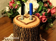 Rustic Wedding Guest Book Pen Holder Table Center by HomenStead, $15.00