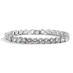 """Mariell Glamorous Silver Rhodium CZ Bridal Tennis Bracelet in Petite Size. Perfect for Smaller Wrist!. Mariell's Petite Length Classic Style Cubic Zirconia Tennis Bracelet is Perfect for Brides, Bridesmaids or Fashion; Great for Special Occasion and Everyday Casual and Business Wear. Genuine Silver Platinum Plating with the Look of Fine Jewelry; Measures 6 1/2"""" Long for Delicate Wrist Size. Finest Quality AAAAA Grade Cubic Zirconia for Diamond-like Brilliance. RISK-FREE Purchase; 100%…"""