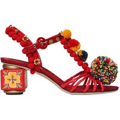 DOLCE & GABBANA 60mm Pompom Raffia & Cotton Sandals (€1.600) ❤ liked on Polyvore featuring shoes, sandals, multi colored shoes, swarovski crystal shoes, raffia sandals, dolce gabbana shoes et colorful sandals