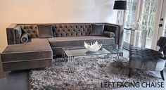 Tobias Sectional in Gray Velvet, any dimensions any size and color. Made in 3 weeks and shipped anywhere in the US