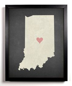 State Love Indiana Print Pictured In Charcoal by StayGoldMedia