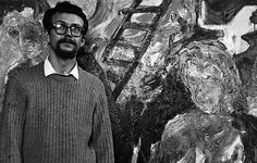 Ronald Davis at the San Francisco Art Institute, 1961 The background is one of his first art school paintings.  Photo saved by classmate Gail Chadell Nanao for all these years.  (I didn't know it existed.)