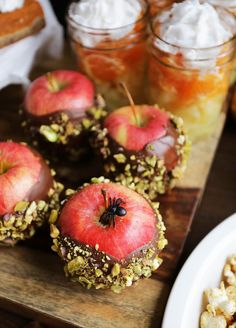 """Halloween Snack Bar, WITHOUT candy. """"Candy Apples"""" dipped in Dark Organic Chocolate and covered with pistachios. Healthy Halloween Snacks, Apple Dip, Clean Life, Organic Chocolate, Free Candy, Snack Bar, Candy Apples, Caramel Apples, Holiday Fun"""