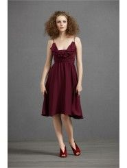 Silk Spaghetti Straps Knee-Length A-line Special Occasions Dress