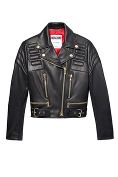 Black Moschino leather jacket with gold hardware and zipper detail.