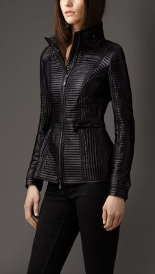 Burberry - Peplum Detail Ribbed Quilt Jacket