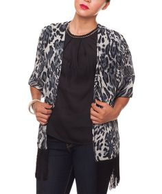 Look at this Gray & Black Leopard Open Cardigan on #zulily today!