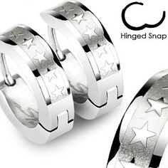 SER-0014 Pair of 316L Surgical Stainless Steel Hoop Earring with 5 Star Logos