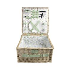 Gorgeously designed, this picnic set is perfect for avid outdoor adventurers. Woven from wicker with charming floral print lining and light green details, this Audra Picnic Basket will make a delightfu...  Find the Audra Picnic Basket, as seen in the Urban Arboretum Collection at http://dotandbo.com/collections/urban-arboretum?utm_source=pinterest&utm_medium=organic&db_sku=112244
