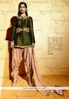 Bhagalpuri Silk Dark Olive Green Patiala Salwar Suit …
