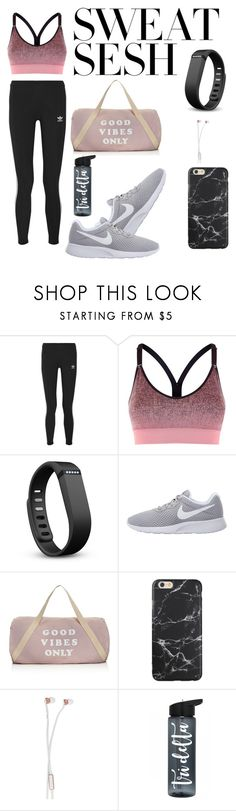 """""""Be productive"""" by sindysaragih ❤ liked on Polyvore featuring adidas Originals, adidas, Fitbit, NIKE, Spiritual Gangster and Sudio"""