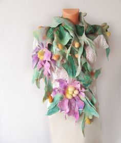 Nuno+Felted++scarf+Green+++Pink+Flowers+от+galafilc+на+Etsy,+$112.00