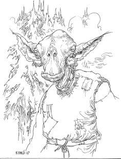 Tet Tut-Tug, #edgechronicles #paulstewart #chrisriddell Paul Stewart, Herschel, Goblin, Tree Branches, Inktober, Fairies, Legends, Art Pieces, Coloring