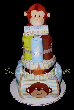 Handsome Monkey Diaper Cake by swaddlestar, via Flickr