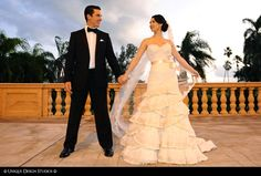 Such a gorgeous couple on one of the Biltmore Hotel's wonderful spacious terraces.