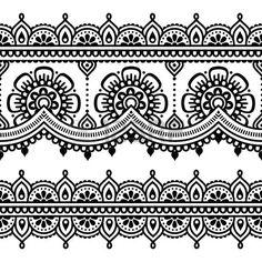 Mehndi, Indian Henna Tattoo-nahtloses Muster