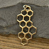 Honeycomb Charm - Gold Plated, Sterling Silver, Natural Bronze, Bees, Insects, Honey