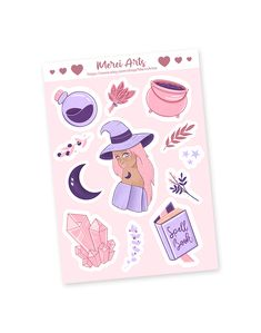 Pastel magic sticker set, sticker sheet - witch, crystal, spell book, cauldron, potion, healing herbs, moon, in pastel, pink purple colors  My stickers are all designed by myself in my little studio, in Budapest, Hungary.   The pastel magic sticker set contains 12 stickers.  These stickers are waterproof, weatherproof, and the highest quality vinyl so if you remove them they won't leave gross sticky residue anywhere!