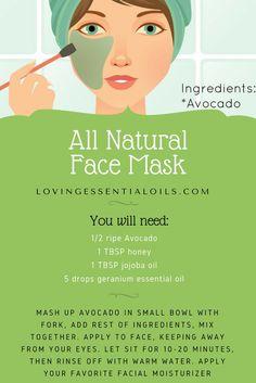 All Natural Avocado Face Mask with Geranium Essential Oils   Natural Skin Product   Healthy Living   DIY Beauty Recipe   Homemade Skincare