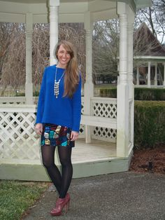 pops of color...Zara sweater with Forever 21 mosaic skirt and Stella and Dot necklace