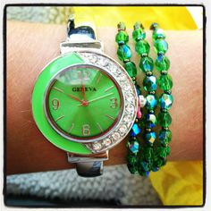 Lime green watch and bracelet from a hospital gift shop, I absolutely love it.