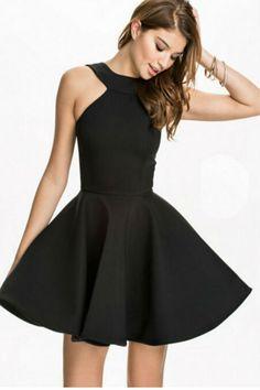 Elegant Black Halter Dress