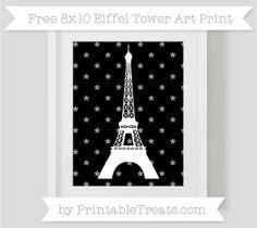 Black Star Pattern  8x10 Eiffel Tower Art Print