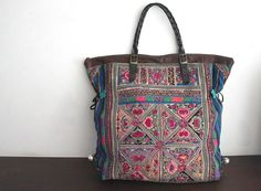 DAZZLING Oversized tote - Ethnic / Hip / Tribal / Hmong / Miao / Bohemian Tote-this is made from recycled fabric, and is so cool I wish i could find a pile of money somewhere, until then I can dream :-)