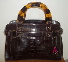 ACCESSORIZE DARK AUBERGINE MOCK CROC & FAUX TORTOISESHELL HANDLE BAG - BNWT #Accessorize #ShoulderBags