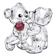 Very cute Swarovski teddies celebrating with a ruby rose - a sweet 40th anniversary gift $165