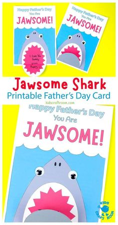 These printable Shark Father's Day Cards are loads of fun. Open their mouths to write a surprise message and show Dad how totally Jawsome he is! A lovely Father's Day Craft for kids. #kidscraftroom #kidscrafts #fathersday #fathersdaycrafts #sharkcrafts #fathersdaygifts
