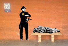 "Shot by the Sheriff, Mural 68'' x 24"" Gunslinger and 60"" x 19"" Homeless Jesus, Spray Paint on clear cellophane, Letitia Hill, (2014) ©Raven Hill Designs #whereCREATIVITYconnects"
