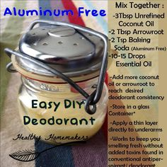 Aluminium free deodorant. Plus soooooo many other great tips & tricks on this page. It was hard to decide which one to pin!
