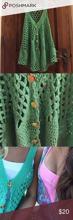 Free People Mint Green Crochet Vest M Cute free people crochet sweater material vest mint green color with gold buttons. Trendy, cute open or buttons closed. Good used condition no pulls. Free People Jackets & Coats Vests