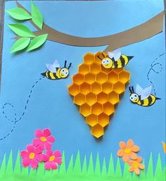 Bee Crafts For Kids, Toddler Crafts, Art For Kids, Arts And Crafts, Preschool Learning, Preschool Crafts, Hives And Honey, Monkey Crafts, Bee Drawing