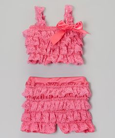 This Hot Pink Ruffle Lace Tankini - Infant, Toddler & Girls #zulilyfinds