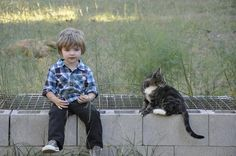 A boy and his cat
