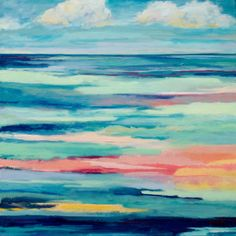 Original Oil Painting Abstract Seascape  16x16 by NikiArdenFineArt, $350.00