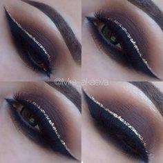 Brown Smokey Eye with a Pop of Glitter