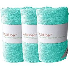 """Plush Microfiber Body/Face Cloth - Dual Action (exfoliate/cleanse): 3 Pk – 12""""x12""""– Soft Cleanse side and Exfoliating Reverse side - Remove Make Up, Dirt, Oil & Dead Skin Cells, Blue"""